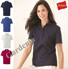 Hanes 035X Ladies Cotton Pique Sport Shirt Short Sleeve S-3XL Womens