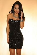 Plus Size Women Sequin Strapless Bodycon Club Party Black Evening Sexy Dress