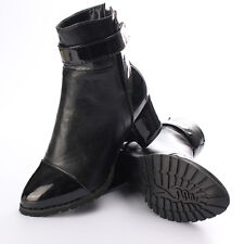 New Women Shoes Pointed Toe Block Heel Velcro Ankle Boots Motorcycle Boots
