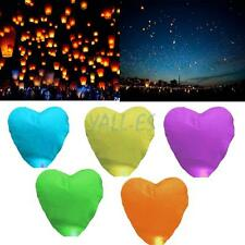 100x Heart-shaped Lanterns Lamp Sky Candle Wishing Wedding Party Funny 5 Colors