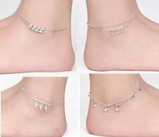 Elegant Silver Plated Double Layer Anklet Ankle Bracelet Chain Multi-Style  WOCA