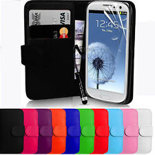 LEATHER BOOK WALLET MAGNETIC FLIP POUCH CASE COVER FOR SAMSUNG GALAXY S3 I9300