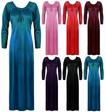 WOMENS DESIGNER PLUS SIZE LONG NIGHTDRESS LONG SLEEVE NIGHTIE LOUNGER 8-28