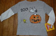 Snoopy Peanuts Halloween T-Shirt Long Sleeve Layered Look Top Brand New w Tags