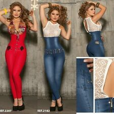 ♡ Ladies Jumpsuit Colombian Jeans Designer   Overall Blue& Chitta Bling Size1-12