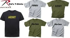 BOYS & GIRLS ARMY & MARINES Military Kids Physical Training Short Sleeve T-Shirt