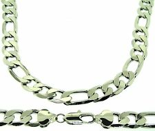 New Mens 20, 24, 30 Inch 13mm Silver Plated Figaro Chain Necklace Hip Hop Bling