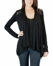 Open Faux Leather Paneled Cardigan Sweater