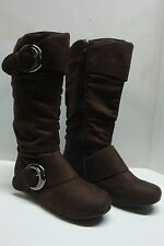 NEW WOMEN'S CAUSAL SLOUCH MID-CALF FLAT BOOT - FASHION BUCKLES & ZIPPER IN BROWN