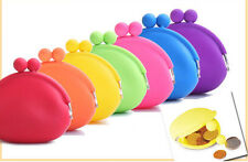 Candy Color Mini Purse Soft Surface Fastener Silicone Wristlet Coin Bag Wallet
