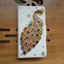 Handmade Hot sale New Bling Diamond Peacock PU leather Flip case cover for Sony