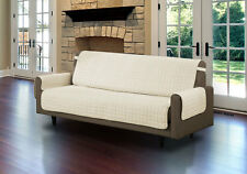 QUILTED MICROFIBER PET DOG COUCH SOFA FURNITURE PROTECTOR WITH STRAP BEIGE