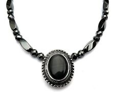 Men's Womens Magnetic MAG-PENDANT Necklace Black Cat Eye twists and faceted 6mm