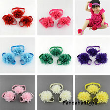 2 Sets Gift Elastic Flower Newborn Baby Girl Headbands and Barefoot Sandal Shoes