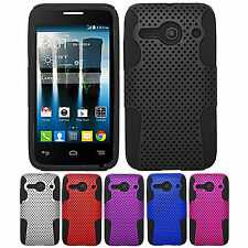 For ALCATEL ONE TOUCH EVOLVE 2 / 4037 Dual Layer Hybrid APEX Net Mesh Case Cover