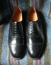 Loake Oban black semi-brogue Oxford shoes width fitting F