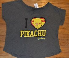 Pokemon I LOVE PIKACHU Oversized Dolman Top Tee T-Shirt Officially Licensed