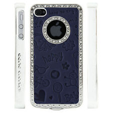 Apple iPhone 5 5S Gem Crystal Rhinestone Dark Blue Cute Leather case