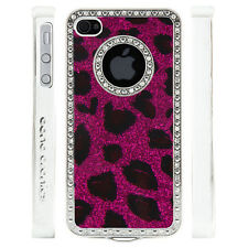 Apple iPhone 5 5S Gem Crystal Rhinestone Dark Pink Leopard Glitter Plastic case