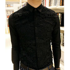 Gothic Men Unique Skull Decorate Lace Dress Shirt Long Sleeve Vogue Casual Tops
