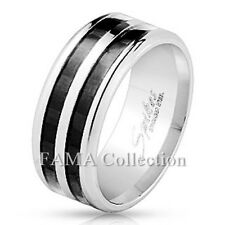 FAMA 9mm Stainless Steel Double Black Carbon Fiber Inlay Band Ring Size 9-13