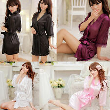 Hot Women Sexy Satin Lace Robe Sleepwear Lingerie Nightdress G-string Pajamas