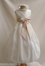 IVORY CHAMPAGNE TAN PAGEANT DAVIDS FLOWER GIRL DRESS 18-24MO 2 4 6 8 10 12 14
