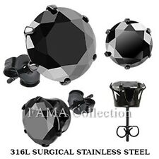 FAMA Black IP Stainless Steel Stud Earring with Round Black CZ Sizes 3mm-10mm