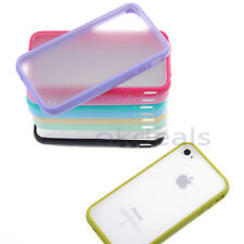 TPU Bumper Frame with Ultra Slim Matte Clear Hard Back Case for iPhone 4 4S 5 5S