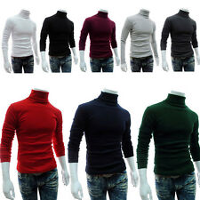 Herren Rollkragen Pullover Pulli Slim Fit Langarmshirt Turtleneck Sweater Tops
