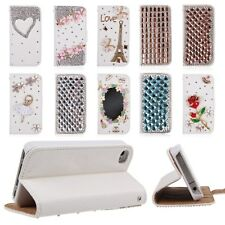 3D Bling Crystal Rhinestones Flip Wallet Leather Case Cover for iPhone 4 4S 5 5S
