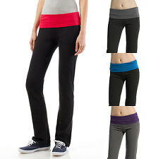Contrast Fold Over Waist YOGA PANTS Flare Bottom Athletic Lounge Gym 9032