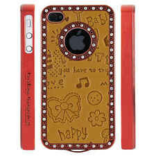 Gem Crystal Rhinestone Orange Cute Leather Case For Apple iPhone 5 5S 5G