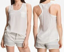 NWT $138 Joie Alicia Silk Racerback Tank Top in Porcelain