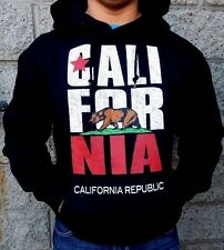 New Men's CALIFORNIA REPUBLIC BEAR FLAG Black Hoodie pullover S-3XL