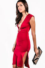 Bold red deep v backless double slit sexy party midi dress