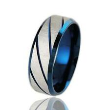 Men's Wedding Band Titanium Brushed Band Ring Stainless Steel Ring Blue/Golden