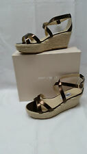 BRAND NEW JIMMY CHOO WOMENS PORIA ESPADRILLE WEDGE -METALLIC BRONZE