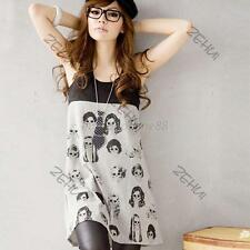 Lady's White/Gray Scoop Neck Dress Loose Head Print Sleeveless Vest Mini Dress