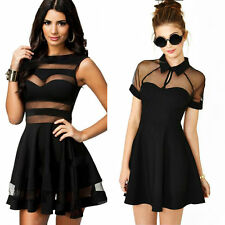 Women Sexy Backless Mesh Collared Skater Club Party Mini Shirt Dresses Top 81014