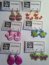 LARGE Plastic Easter Spring Time Dangle Earrings-Free Shipping-Various Designs