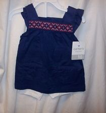 CARTERS GIRLS BABY 2 PIECE SHORT SET , NAVY TOP WITH WHITE STRETCHY SHORTS NWT