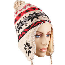 Peruvian Hat Chullo Style Ski Winter Knit Cap Beanie Earflaps Adult One Size