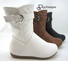 NEW Girl's Kid's Winter Boots Shoes Booties Cute Zipper Mid Calf Slouchy Flat