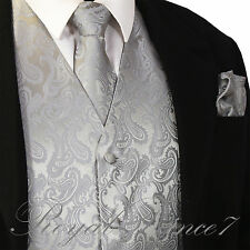 Silver XS - 6XL Paisley Tuxedo Suit Dress Vest Waistcoat & Neck tie & And Hankie
