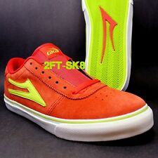 LAKAI MANCHESTER SELECT RED LIME SUEDE MENS SKATE SKATEBOARD SHOES