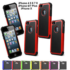 Apple iPhone 4 5 SE 6 Hard Silicon Shock Proof Defender Dual Layers Case Cover