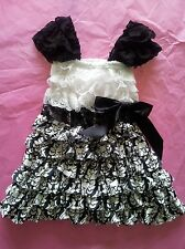 CLEARANCE Baby girl black white damask petti lace romper dress USA SELLER