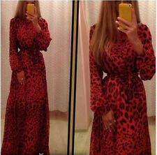 Party Spring Women Fashion Round Neck Long Sleeve Leopard Casual Dress