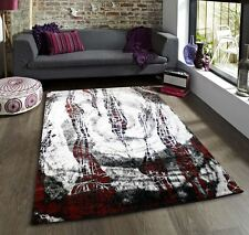 Black White and Red Funky Rug New Striking Pattern Soft Touch Large Room Sizes